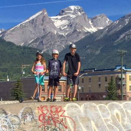 I love the contrast between urban graffiti and nature's mountain splendour at the Fernie Skate Park.