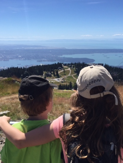 The view from the top of Peak Chairlift at Grouse Mountain.