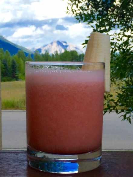 This tropical blender drink might look out of place in the mountains. Who cares?