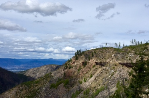 Expect great views while hiking or cycling the Kettle Valley Railway trail that curves around Myra Canyon in Kelowna, B.C.