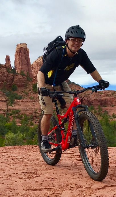 Blake moves it like Jagger on a mountain bike in Sedona, Ariz.